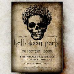 Skull Halloween Invitation - Halloween invitation printable, Halloween invitation, Halloween invitation, gothic Halloween invitation