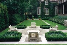 Wow.  chairs are way too far apart to actually talk, but such a beautiful setting.  Forest Hill Formal Garden