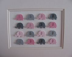 DIY this - martha stewart punch and patterned paper -Pink and Gray Baby Elephants - 3D Whimsy Collage - 5X7 -