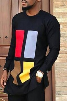 Mid-Length Print Color Block Round Neck African Fashion Loose Men's T-shirt Latest African Men Fashion, African Wear Styles For Men, African Shirts For Men, African Dresses Men, Nigerian Men Fashion, African Attire For Men, African Clothing For Men, Ankara Fashion, African Style
