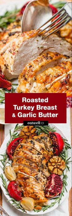 Roasted Turkey Breast with Garlic Herb Butter Roasted Turkey.-Roasted Turkey Breast with Garlic Herb Butter Roasted Turkey Breast with Garlic Herb Butter – An epic Thanksgiving holiday meal loaded with flavor and a super juicy meat. Thanksgiving Holiday, Thanksgiving Recipes, Holiday Recipes, Holiday Meals, Christmas, Garlic Recipes, Chicken Recipes, Garlic Herb Butter, Roast Turkey Breast
