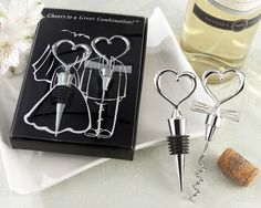 Bride and Groom Heart Bottle Stopper and Corkscrew Wine Set - myweddingfavors.com - $5.30