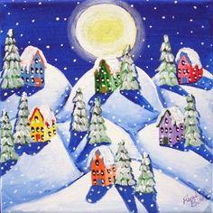 Silent Night Winter Snow Moon Painting Original Folk Art