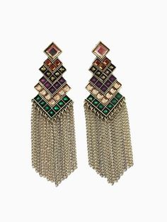 Vintage Golden Earrings With Color Long Tassels | Choies