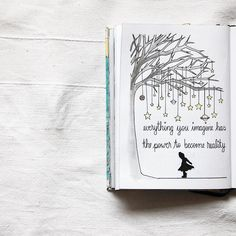 I got inspired to draw this on my walk with my dog this morning. I love the idea of hanging up stars in a tree Bullet Journal Quotes, Bullet Journal Banner, Bullet Journal Notebook, Bullet Journal Ideas Pages, Bullet Journal Inspiration, Citation Photo Insta, Tattoo Painting, Kunstjournal Inspiration, Doodle Quotes