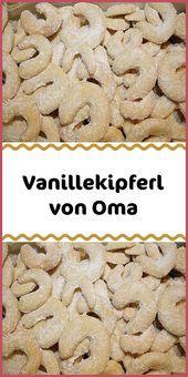 Vanilla kipferl from grandma - Kuchen & Torten Rezepte - Powdered Sugar Icing, Vanilla Sugar, Cupcakes, Delicious Desserts, Dessert Recipes, Torte Recipe, Chocolate Torte, Shortcrust Pastry, Biscuits