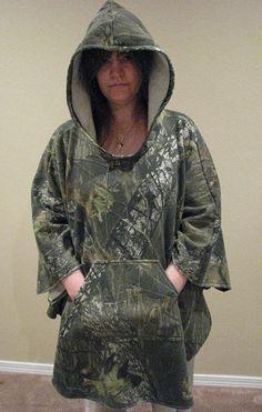 Hooded Poncho Camouflage Sweatshirt Fleece Mossy by adfabinidaho