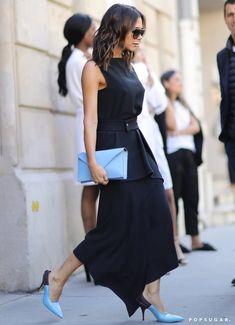 Victoria Beckham Black Dress and Blue Heels in Paris Victoria Beckham Outfits, Shoe Image, Blue Heels, Lord & Taylor, Sexy, Fashion News, Blue Dresses, Peplum Dress, Topshop