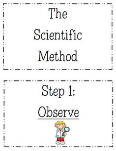 free Scientific Method printables to make a display--for our science corner