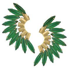 Elizabeth Cole Green Jade Mohawk Earrings