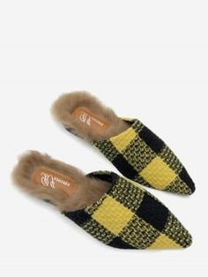 Fuzzy Footbed Color Block Checkered Mules Shoes - Yellow 36