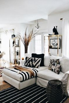Black and white with some bohemian colors for maybe a basement or bonus room