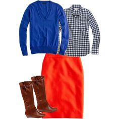 """Blue, Gingham, and Vibrant Flame"" by jcrewismyfavstore on Polyvore"