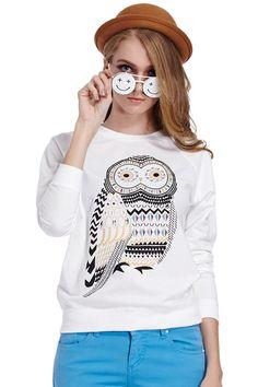 ROMWE   Rhinestone Owl Print White Sweatshirt, The Latest Street Fashion