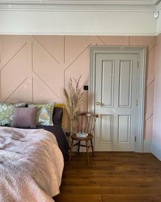 "@victoria_road_restoration on Instagram: ""Pink room update. I've not shown any 'after' shots of the panelling on the grid because I'm still not happy with the styling of the room…"" Pretty Bedroom, Pink Room, Restoration, House Design, Panelling, Inspiration, Grid, Furniture, Shots"