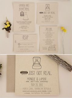 Kraft wedding invites and Splash of Silver giveaway! #weddingchicks http://www.weddingchicks.com/2014/06/24/wedding-paper-giveaway/