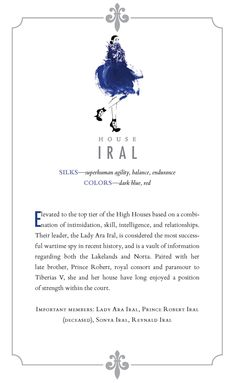 House Iral - Swifts: super human agility and speed Importan tMembers: Lady Ara Iral, Sonya Iral Colors: dark blue, red Victoria Aveyard Books, Red Queen Victoria Aveyard, Red Queen Book Series, Glass Sword, King Cage, Book Fandoms, Book Nerd, Love Book, Book Quotes