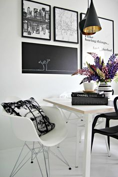 Black&White Dining Room Design Inspiration with Eames Chair Dining Room Design, Dining Room Industrial, Black And White Dining Room, White Dining Room, Interior, Dining Chair Design, Dining Room Lighting, Home Decor, House Interior