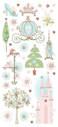 Pastel princess, pink, green and blue stickers