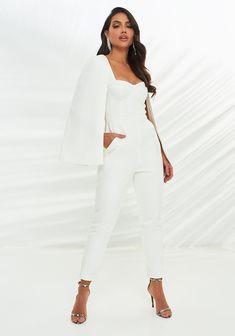 Cape Jumpsuit, Tailored Jumpsuit, White Playsuit, White Jumpsuit, Cape Designs, Lavish Alice, Wedding Jumpsuit, Tapered Trousers, Cutaway