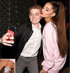 From one selfie to another. Ryan McKenna the selfie kid is still living his best… – LA Stars Love You So Much, Love Her, Ariana Grande Ponytail, Celebrity Engagement Rings, Getting Engaged, Snl, Her Music, See Photo, Role Models