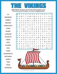 Kids will have fun looking for the words in this Viking word search. It would make a good activity or game to reinforce vocabulary and ideas while studying a unit on the Vikings. Puzzlers must look in all directions to find the 20 hidden words and words do overlap.