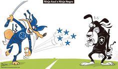 Charge do Dum (Zona do Agrião) sobre o confronto entre Cruzeiro e Botafogo (11/09/2016). #Charge #Dum #CampeonatoBrasileiro #Cruzeiro #Botafogo #HojeEmDia
