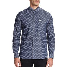 Fred Perry Drakes Paisley Sportshirt (545 PEN) ❤ liked on Polyvore featuring men's fashion, men's clothing, men's shirts, men's casual shirts, apparel & accessories, indigo, mens paisley shirt, mens long sleeve shirts, mens long sleeve button up shirts and mens button down shirts