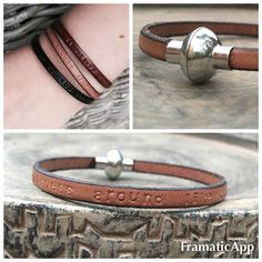 Personalized Leather Bracelet. Brown Leather. Magnetic by ByCeci