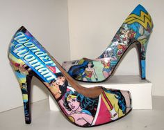 Wonder Woman Comic Book Heels - Made to Order. $70.00, via Etsy.