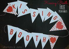 @ Kasey Warren Free Kissing Booth Valentine Printable Bunting from Tatertots and Jello! Valentines Photo Booth, Valentine Backdrop, Valentine Banner, My Funny Valentine, Valentine Day Love, Valentines Day Party, Valentine Decorations, Valentine Day Crafts, Kissing Booth