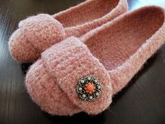 Felted Crochet Slippers by alifecrocheted, via Flickr
