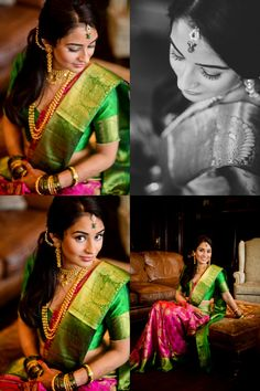 Love this colour combination. Lovely silk saree and Beautiful bride.