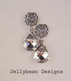 Sterling Silver Filigree flower and Swarovski Crystal post/stud earrings | JellyBean Designs | madeit.com.au