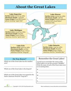 Worksheets: The Great Lakes