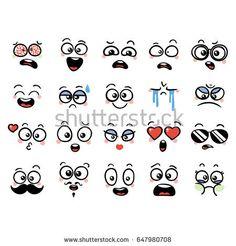 Set of cute lovely kawaii emoticon. Doodle cartoon face in childlike manga cartoon style. Emoji Drawings, Drawing Cartoon Faces, Doodle Cartoon, Cartoon Eyes, Manga Drawing, Girl Cartoon, Easy Drawings, Emoticon, Kawaii Doodles