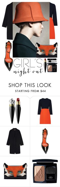 """""""Girl's Night Out, Beauty Edition"""" by alevalepra ❤ liked on Polyvore featuring beauty, Christian Louboutin, Victoria, Victoria Beckham, Donna Karan, Santoni, Christian Dior and GNO"""