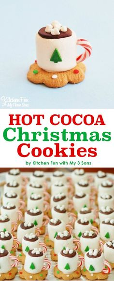 Adorable Hot Cocoa Christmas Cookies made with marshmallows. Looks just like a tiny cup of hot chocolate. Perfect Holiday treat for a school party or Christmas party. Kids will love this no bake fun f(Cute Baking Treats)