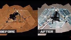 O Opportunity ainda está ativo e perambulando por Marte. Mas como isso pode ser, se os painéis solares do jipe-sonda são constantemente cobertos com poeira?