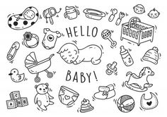 Baby Toys And Accessories Doodle - Baby toys and accessories doodle Premium Vector - Baby Sensory Toys, Montessori Baby Toys, Vintage Baby Toys, Wooden Baby Toys, 9 Month Baby Toys, Doodle Baby, Baby Toy Storage, Organic Baby Toys, Best Baby Toys