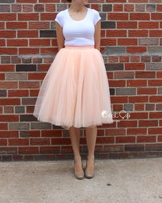 Claire Soft Blush Peach Tulle Skirt - Below Knee Midi hostesses could wear this with a blue top.
