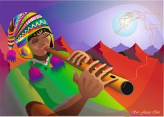 Crónicas de la Tierra sin Mal : Quena... Arte Tribal, Tribal Art, Arte Popular, Naive Art, Prismacolor, Folklore, American Art, Fashion Art, Disney Characters