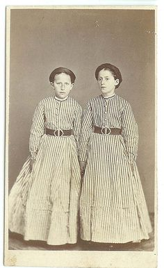 +~+~ Antique Photograph ~+~+   Twins with striped dresses.
