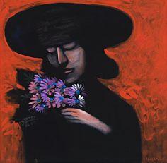 Charles Blackman (born The Bouquet, oil on canvas Australian Painting, Australian Artists, Alice In Wonderland Series, Art Station, Modern Artists, Old Art, Figurative Art, Traditional Art, Female Art