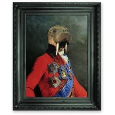 Mineheart - 'Uncle Walter' Ornate Framed Canvas Print ($639) ❤ liked on Polyvore featuring home, home decor, wall art, animal sculptures, framed wall art, image plates and animal wall art