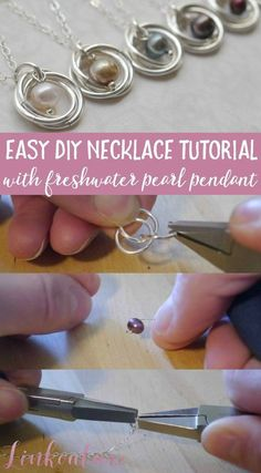 Learn how to make your very own pearl and spiral pendant necklace with this easy diy jewelry tutorial. These necklaces are very delicate and feminine and make for the perfect wedding jewelry or gift idea. It is a great jewelry tutorial for advanced beginners! #WeddingJewelry