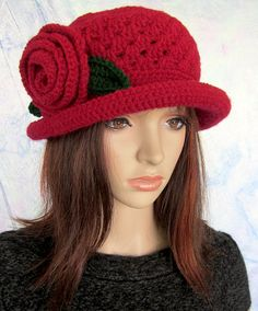 Maroon Burgundy or Black Cloche Hat with ♥ by MoonlightDreams, $30.00