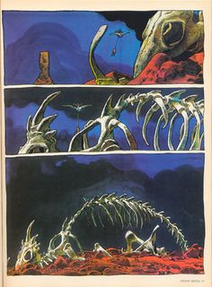 """Page from """"Arzach"""" by Jean Giraud (Moebius) (1975). Originally published in Heavy Metal Magazine April - Vol. 1 No. 1."""