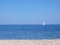 Calm, infinite blue sea Infinite, Wind Turbine, Calm, Sea, Water, Blue, Outdoor, Gripe Water, Outdoors