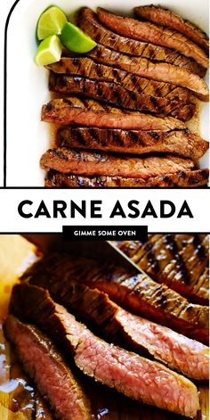 My favorite Mexican carne asada recipe -- made with a flavor-packed citrusy carne asada marinade, and easy to cook on an outdoor grill or on the stovetop. Serve this tender grilled steak in tacos, burritos, nachos, fries, or whatever sounds good! | gimmesomeoven.com #carneasada #steak #mexican #grilled #beef #marinade #glutenfree #tacos #fries #easy #summer Beef Recipes, Mexican Food Recipes, Dinner Recipes, Cooking Recipes, Healthy Recipes, Dinner Ideas, Easy Recipes, Best Carne Asada Recipe, Carne Asada Recipes Easy